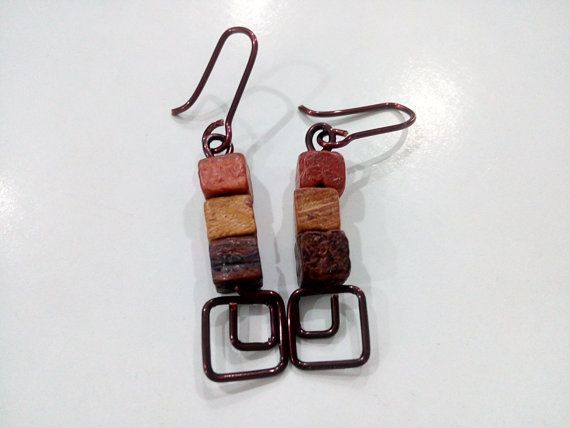 Earrings Boho Dangle Handmade Wood Cubes Copper by CopperByCroopa
