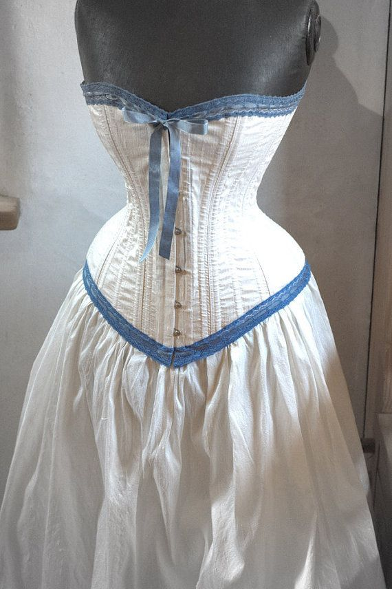 Steampunk Wedding Dress Ivory and Blue Corset & by LaBelleFairy, $1000.00