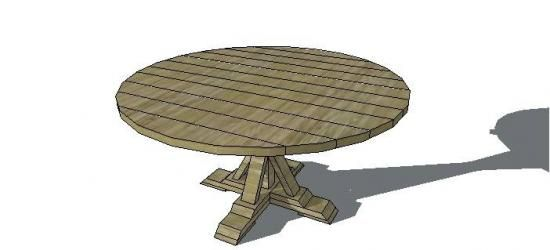 Love the base! Free Furniture Plans to Build a Round Provence Beam Table - www.thedesignconfidential.com
