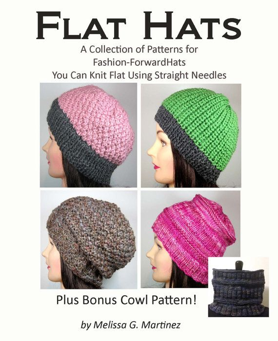 Hats Knit on Flat Needles eBook Knitting Pattern Collection by FinishedActs, $10.00