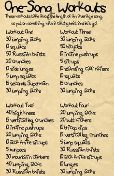 Maybe you don't have time for a full workout so here are some one song workouts that get the job done! Give your all for one song!