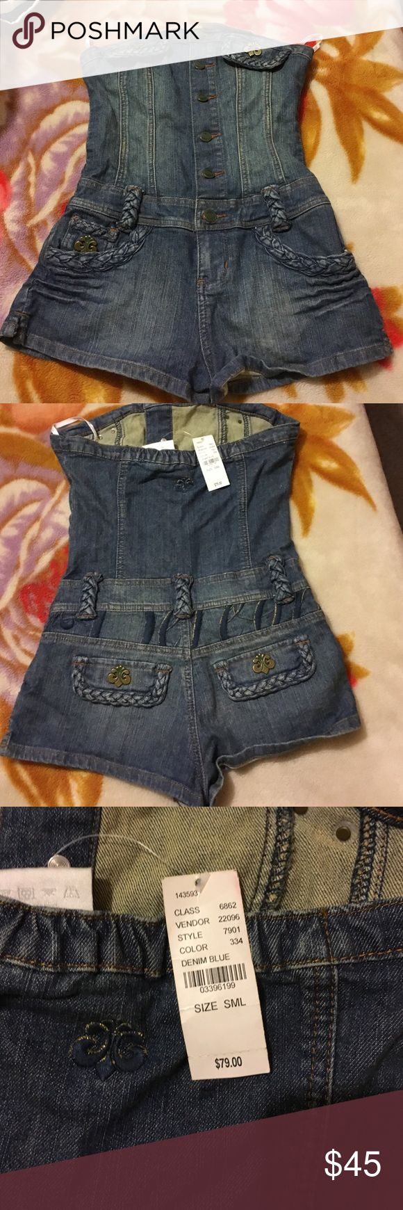 House of Dereon Romper(Beyoncé clothing line) NWT House of Dereon denim romper. This was part of Beyoncé's clothing line back in the early 2000s House of Dereon Other