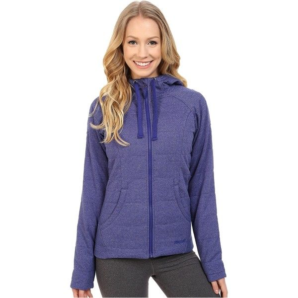 Marmot Corey Hoodie (Arctic Navy/Midnight Purple) Women's Sweatshirt ($95) ❤ liked on Polyvore featuring tops, hoodies, blue, insulated hooded sweatshirt, hooded sweatshirt, purple hoodie, thermal hooded sweatshirt and navy blue hooded sweatshirt