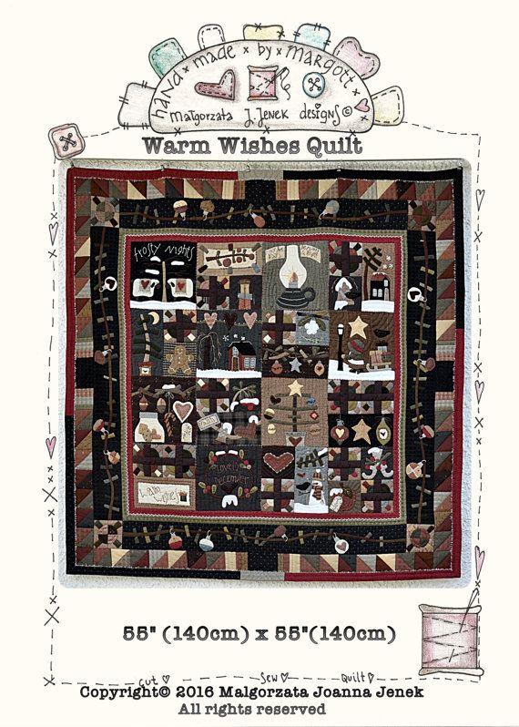 Warme wensen quilt door MJJenek, PDF patroon, quilt patroon, kerst quilt patroon, Kerstmis primitieve winter quilt patroon, winter primitief