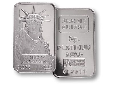 5 Gram Credit Suisse Liberty Platinum Bullion Bar 999.5 Fine Brand new 5 Gram Platinum Bullion 999.5 Fine Credit Suisse Liberty bar.Price includes free insured storage in our vault for up to one year from purchase date.