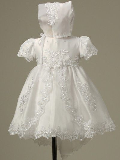Baby Infant Christening Baptism gowns Dress Bonnet Free Outfit Wedding Toddler - Dresses