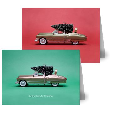 Driving Home Christmas Cards by MOO. If you're one for a little nostalgia this season, these toy car cards are right up your street! With a cute nod to festive toys, they also capture the excitement of bringing the tree home.