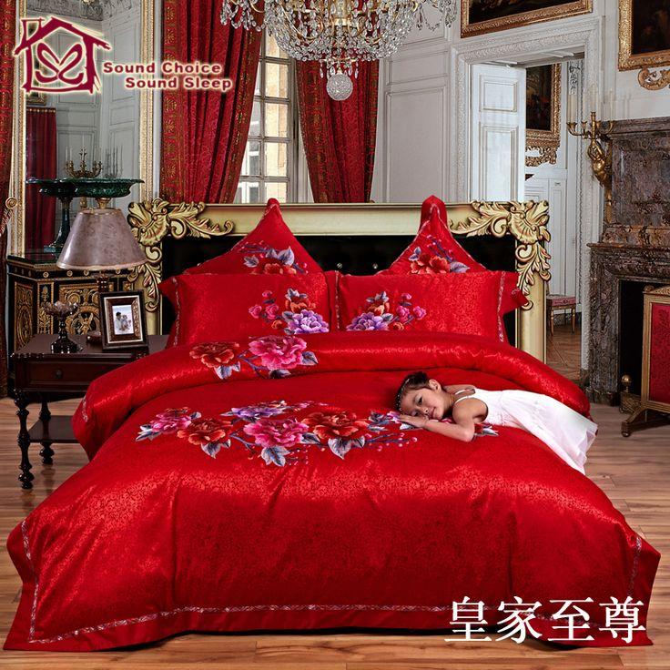 6 шт. / 4 шт. кровать установить специально разработанный для свадьбы хлопка постельных принадлежностей шелка ватные покрывала / покрывало для двуспальные кровати