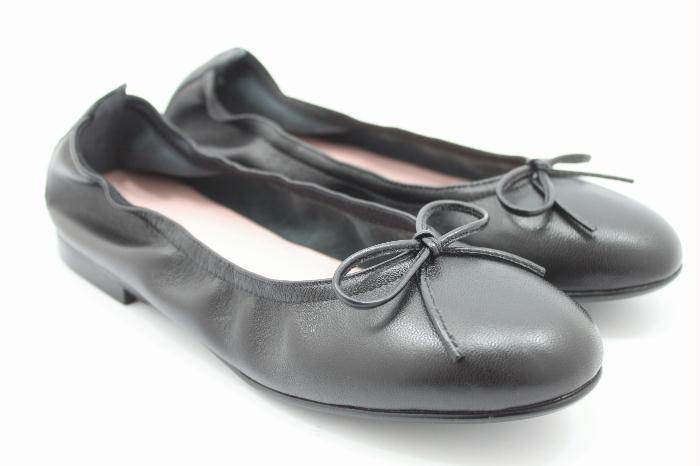 Eli ballerina zwart leer met strikje