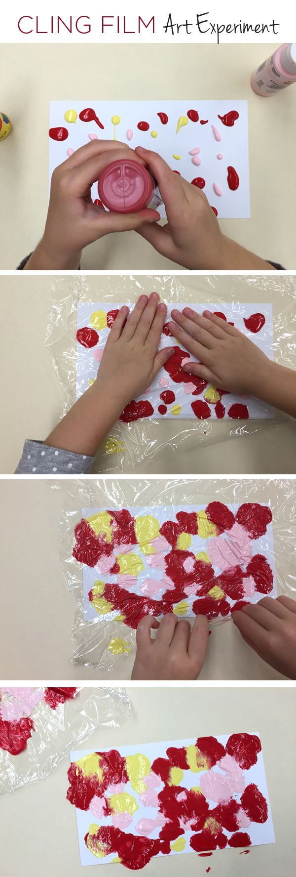 Cling Film Art | will do this with the kids in Chinese colors (gold and red), and then fold into small fans after they dry. Happy Chinese New Year!