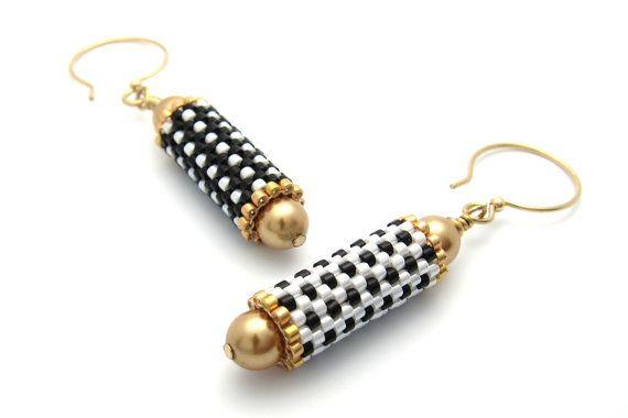 Polka dotted earrings beaded bead earrings by PembrokeBeadwork
