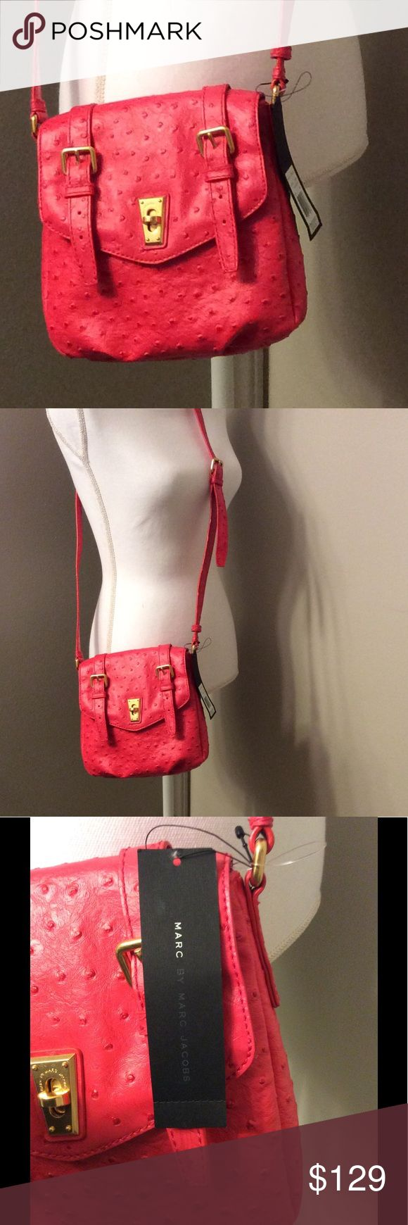 Marc by Marc Jacobs Pebbled Leather Crossbody Authentic Marc by Marc Jacobs crossbody in coral pink pebbled leather with gold tone hardware. Marc by Marc Jacobs Bags Crossbody Bags