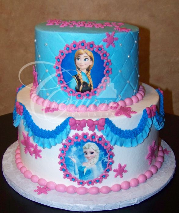 Frozen-birthday-cake-blue-and-pink-Elsa-and-Anna.JPG (586×695 ...