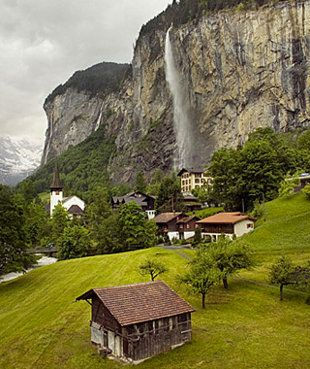 Jungfrau, Interlaken, Switzerland    The Jungfrau region is awash in hundreds of waterfalls that add to the picture-perfect scenes of flowering meadows, frozen-in-time villages, and snowcapped Alpine peaks. These mountains provide year-round entertainment, from summer hikes and picnics to skiing.