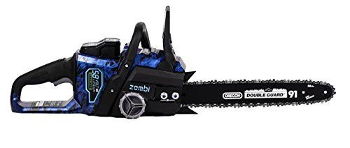 Product review for Zombi ZCS5817 16-Inch 58-Volt 4Ah Lithium Cordless Electric Chainsaw with Oregon Bar & Chain, Battery & Charger Included. Zombi ZCS5817 58V lithium 4Ah battery powered chainsaw – a true wood-cutting Monster. The included Oregon bar & chain slices through logs & limbs like a hot knife through butter. This chainsaw offers performance of gas powered chainsaws with the convenience of being low...
