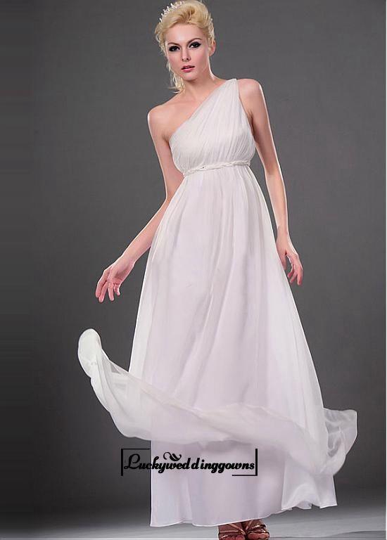 Attractive Chiffon & Satin Empire One Shoulder Empire Waist Wedding Dress