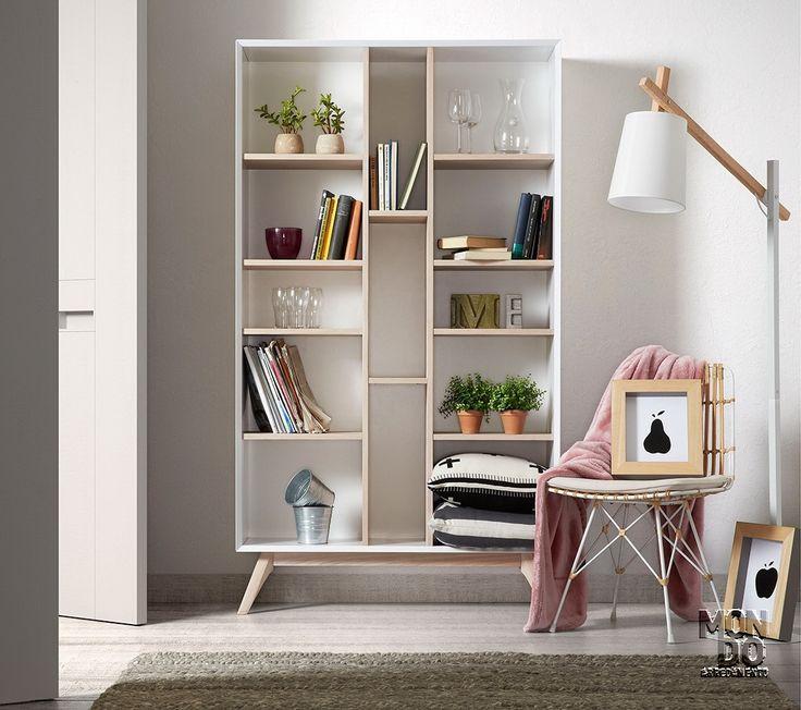 Libreria laccata con particolari  impiallacciato frassino,  il suo colore biondo lo rende importante e lo pone alla pari dei legni pregiati, Mondoarredamento lo propone rivisitato in veste Vintage.