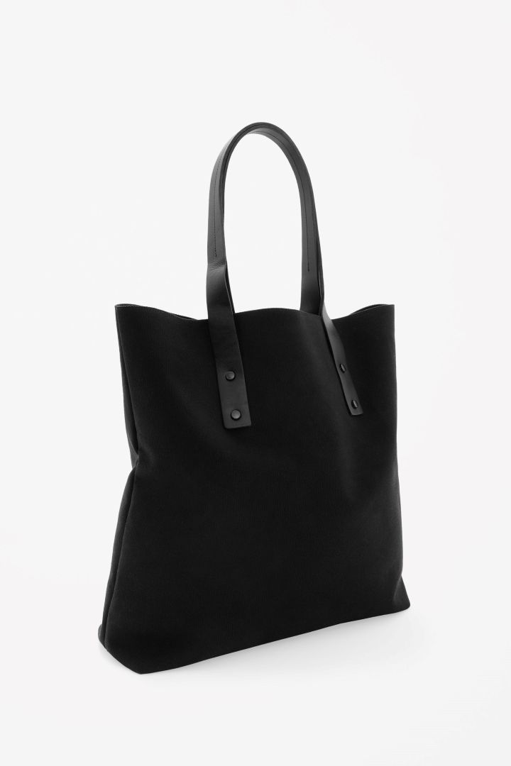 Leather strap canvas tote bag