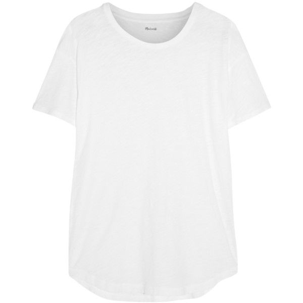 Madewell Slub cotton-jersey T-shirt (€27) ❤ liked on Polyvore featuring tops, t-shirts, shirts, tees, white, slouchy tee, white v neck tee, white v neck shirt, white shirt and slouchy white tee