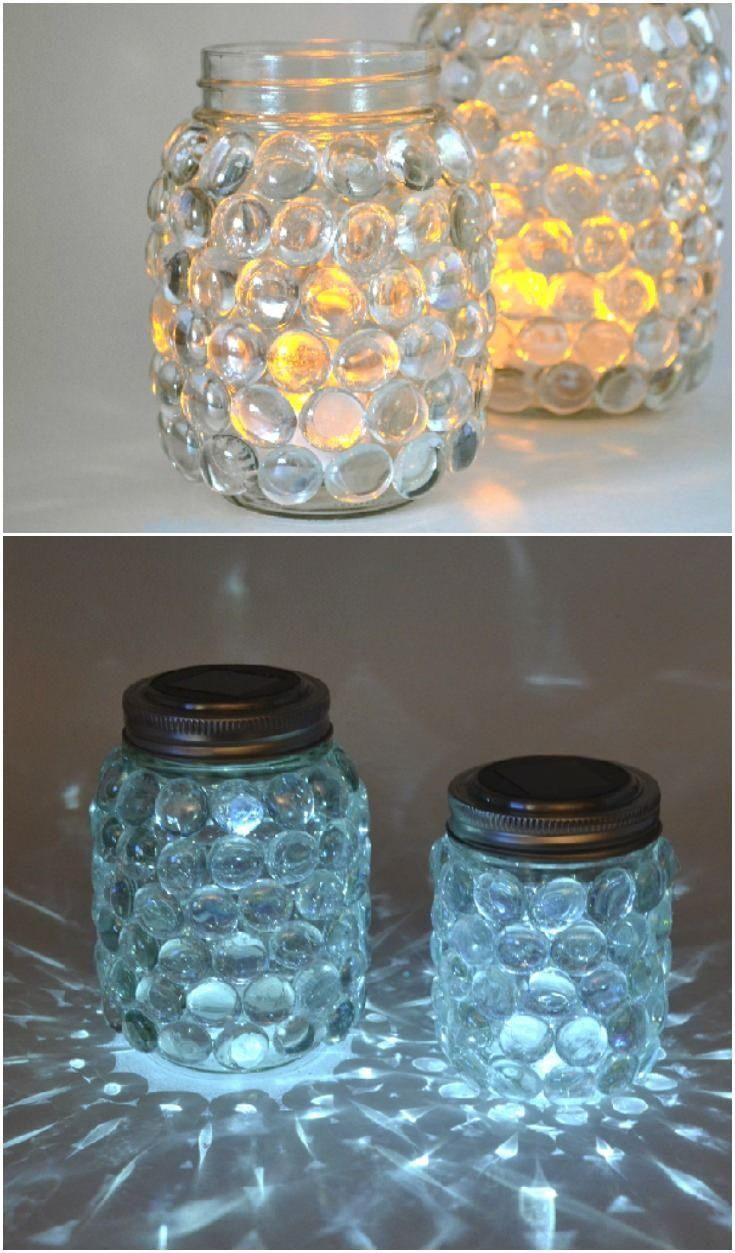 DIY Craft: These solar mason jar luminaries are super easy to make and pretty to boot! Just use simple supplies from the craft store.