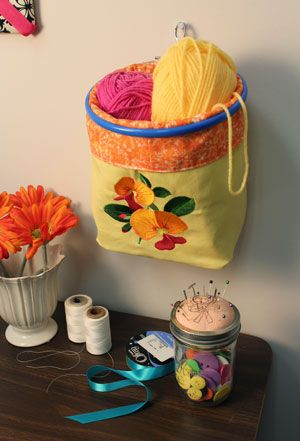 Free project tutorial for an embroidered catchall organizer.