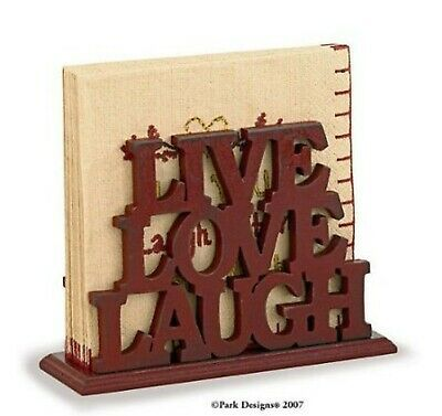 """Park Designs Word Play Red Wood Luncheon Napkin Holder""""Live Laugh Love"""""""