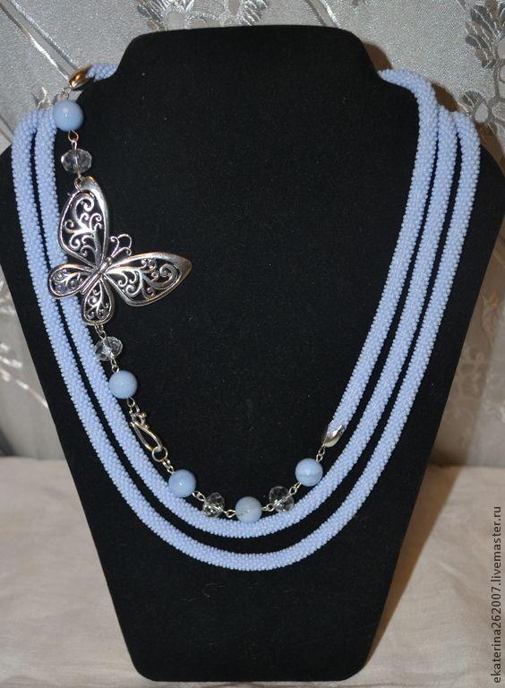 Купить Лариат Ажурная бабочка - голубой, лариат, лариат из бисера, жгут, жгут вязанный из бисера