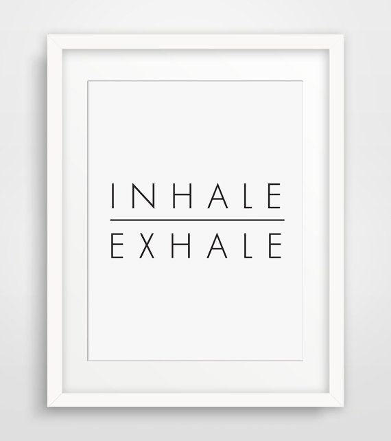 Inhale Exhale Just Breathe Yoga Art Breathe by MelindaWoodDesigns #yogaart