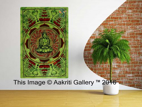 Green Lotus Buddha 100% Cotton Indian Tapestry Cotton Single Tapestry