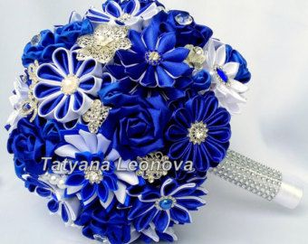 Fabric Wedding Bouquet Brooch bouquet Garnet Red White от LIKKO