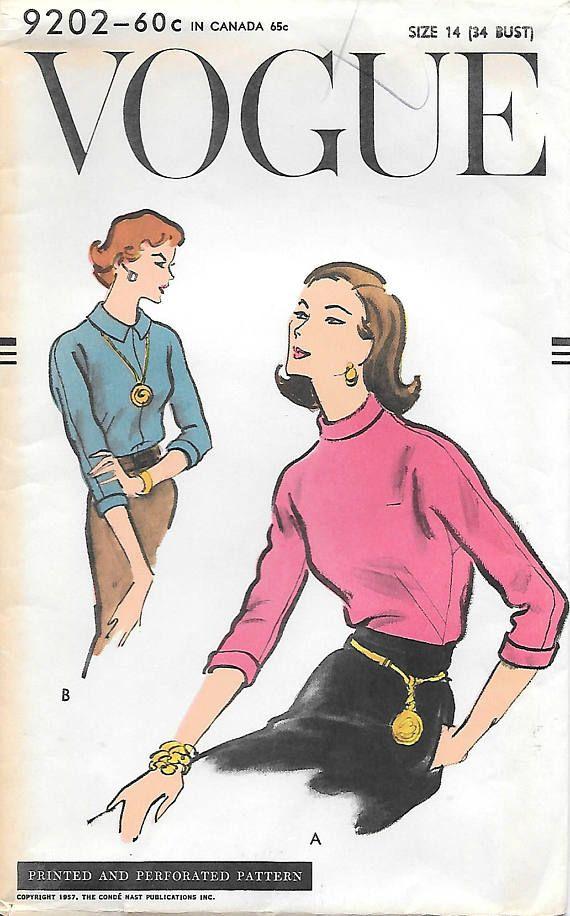 Vogue 9202 UNCUT 1950 Misses Turtle Neck Blouse Vintage Sewing