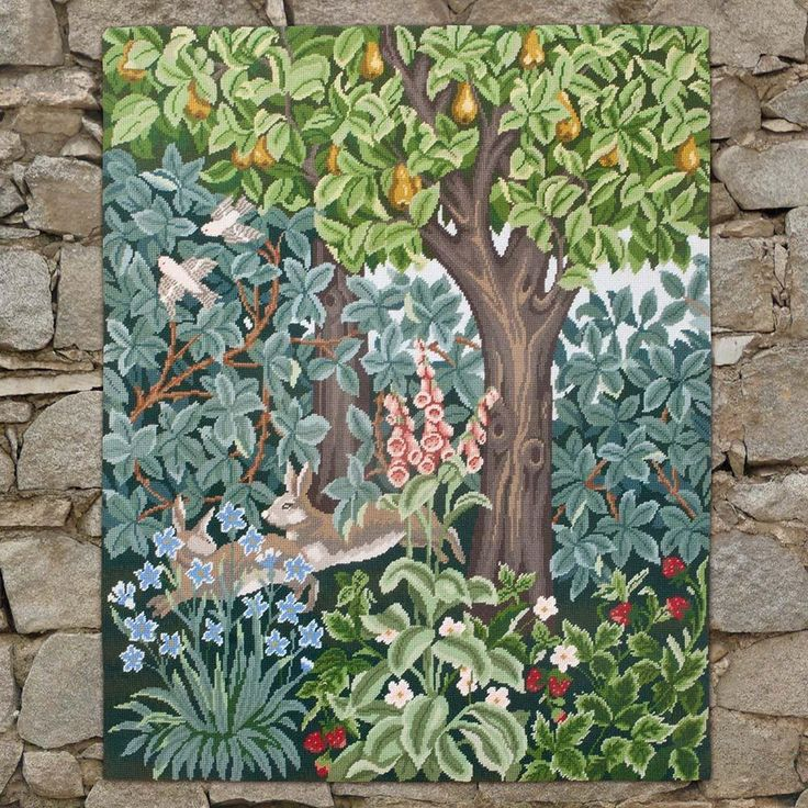 Greenery Hares needlepoint kit. Henry Dearle's greatest talent was in tapestry.  Greenery is one of his finest works and it is interesting to compare it with Morris' Forest.