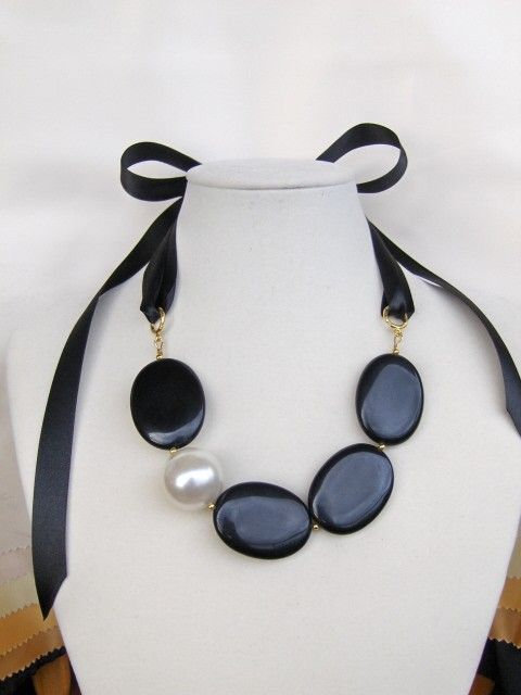 Fancy Huge Agate & pearl necklace and more by Bijouxbyelina, $39.00