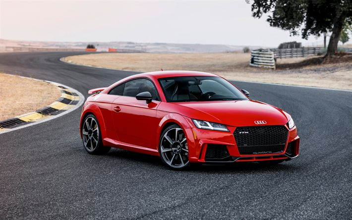 Download wallpapers Audi TT RS, 2018, sports coupe, racing track, red TT RS, German cars, sports cars, Audi