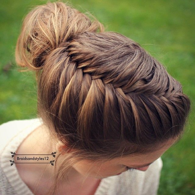 French fishtail braid into a messy bun by Braidsandstyles12