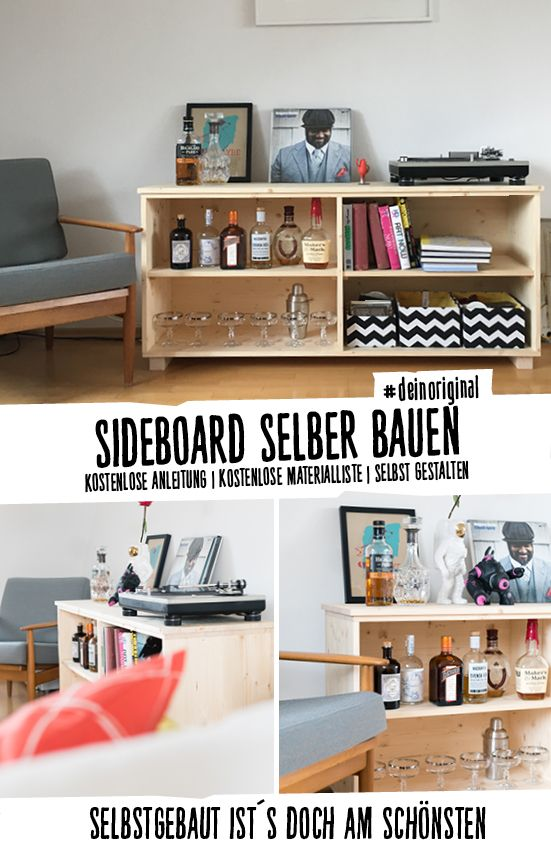 Sideboard Aus Fichtenholz Mit Vier Fachern In Verschiedenen Grossen Und Farben Zum Selberbauen Deinoriginal I DIY Selber Bauen