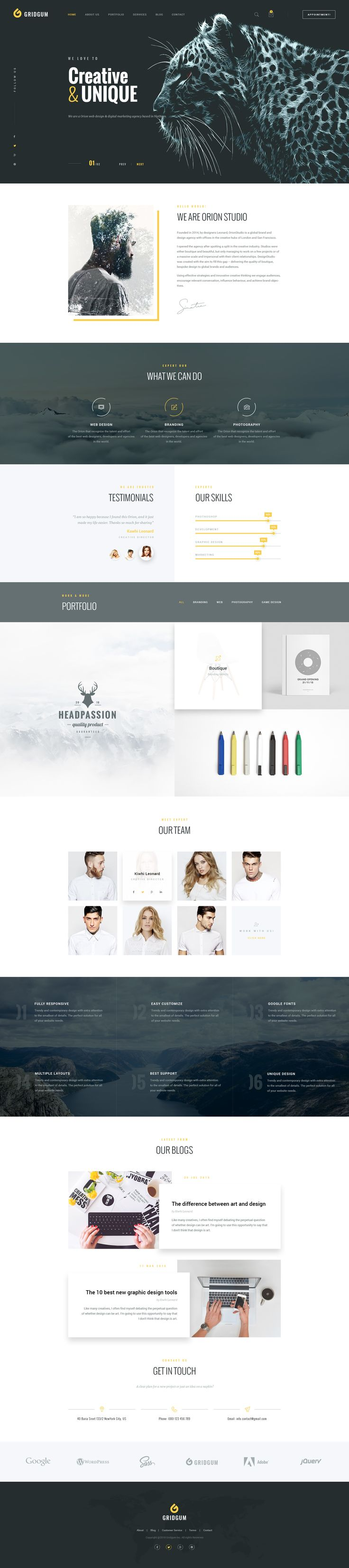 Web Studio - HTML Bootstrap Template  We are happy to introduce our new Bootstrap template which is created by latest Bootstrap 4, CSS and JS frameworks for creative agencies, web design studios, web developers and all the companies with design related services.