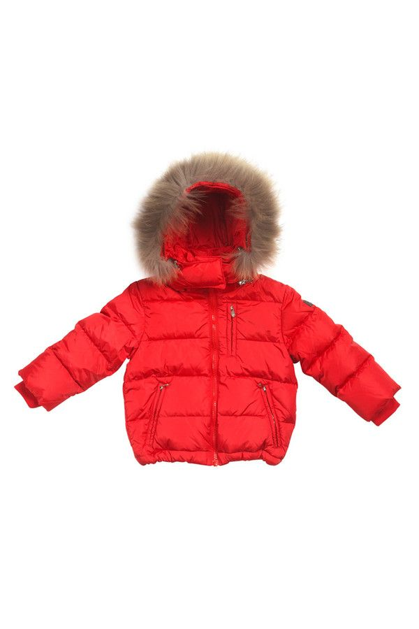 Nylon zipped down-filled jacket with drawstring bottom and fur-trimmed hood. #ilgufo #fw13 #shopping #downjacket #fashionkids #childrenswear #fashion #musthave
