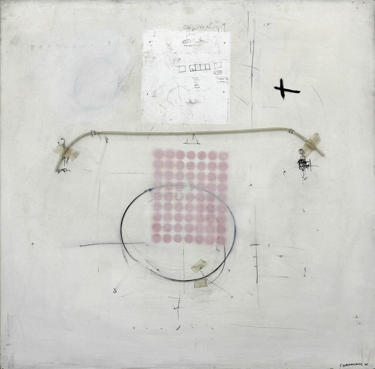 X, Unique painting made by artist Giorgos Vavilousakis, Mixed media and acrylics on wood panel