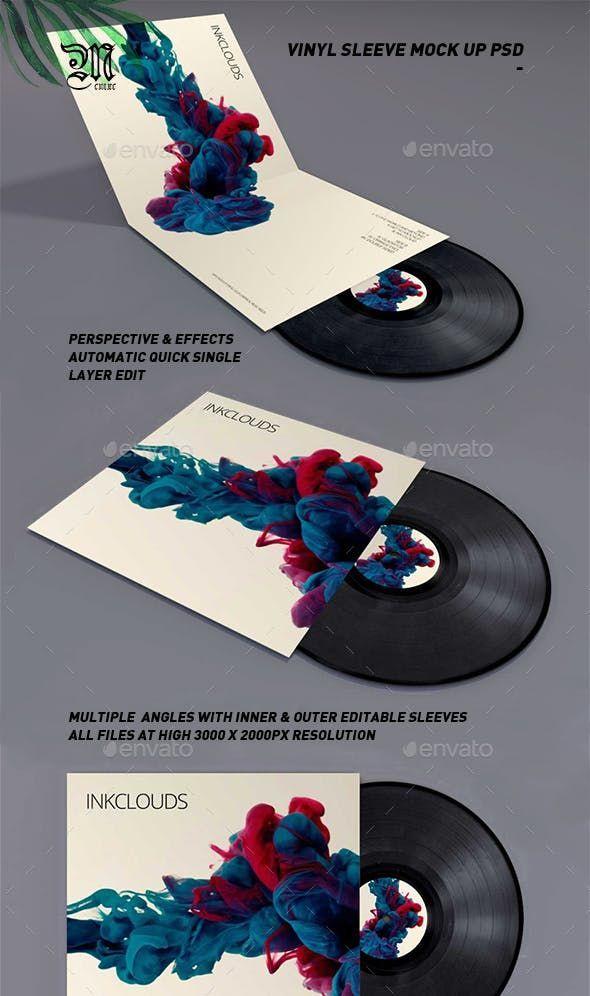 Double Sleeve Vinyl Mock Up Psd Vinyl Vinyl Sleeves Mockup