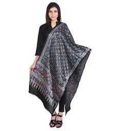 Buy Indian Artizans Black Mashru Dupatta with Ajrakh Print stole-and-dupatta online