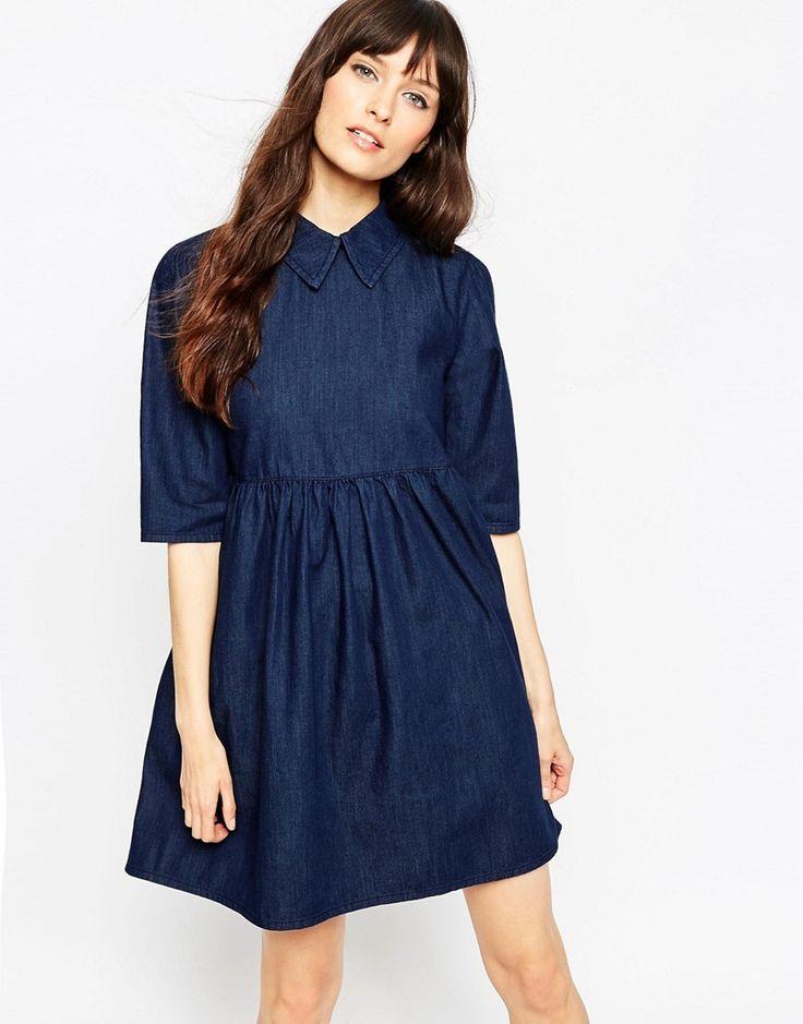 ASOS+Denim+Babydoll+Dress+In+Deep+Blue