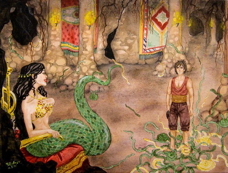 Bu bahçede eşi benzeri olmayan çiçekler ve bir havuz ile pek çok yılan görür. Havuzun başındaki tahtta süt beyaz vücutlu bir yılan oturmaktadır. Şahmeran'ın güvenini kazanan Cemşab uzun yıllar bu bahçede yaşar. Yıllar sonra, ailesini çok özlediğini söyleyip gitmek için yalvarır. Bunun üzerine Şahmeran da kendisini salıvereceğini, ancak yerini kimseye söylemeyeceğine dair söz vermesini ister.