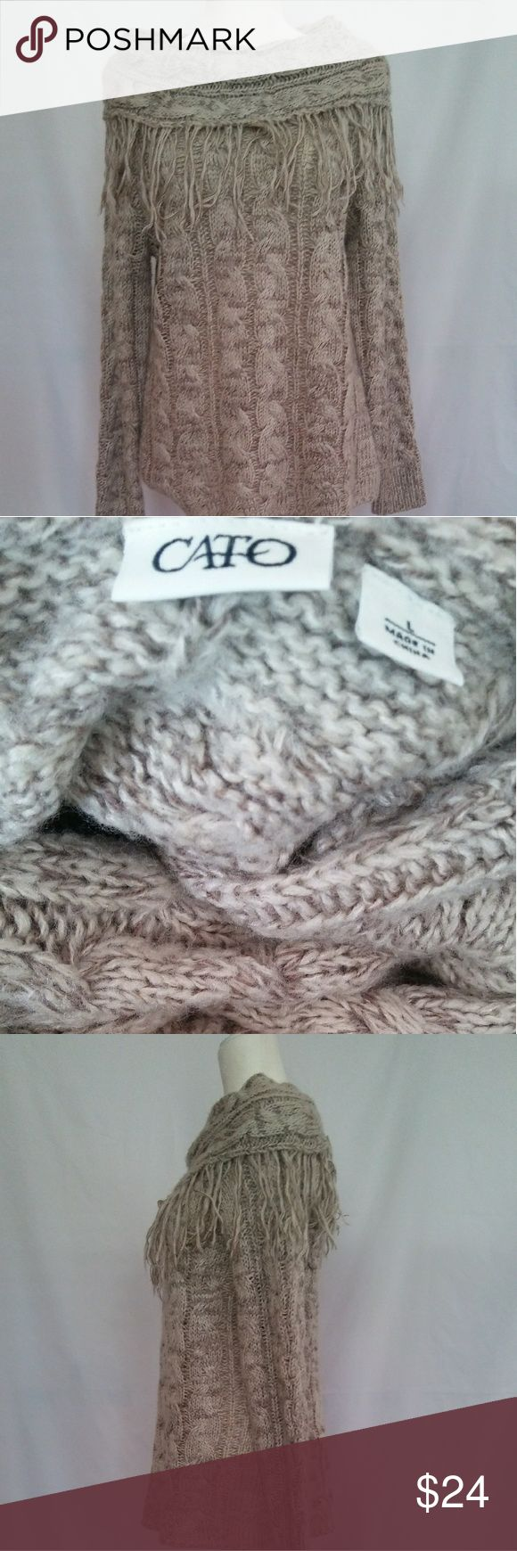 REDUCED!!! Cato large cowl neck women's sweater. Cato large cowl neck sweater.  Measurements as follows, shoulder-to-shoulder 16in, neck to waste 25-inch, pit to pit 14 in. All measurements done from the back. Cato Sweaters Cowl & Turtlenecks