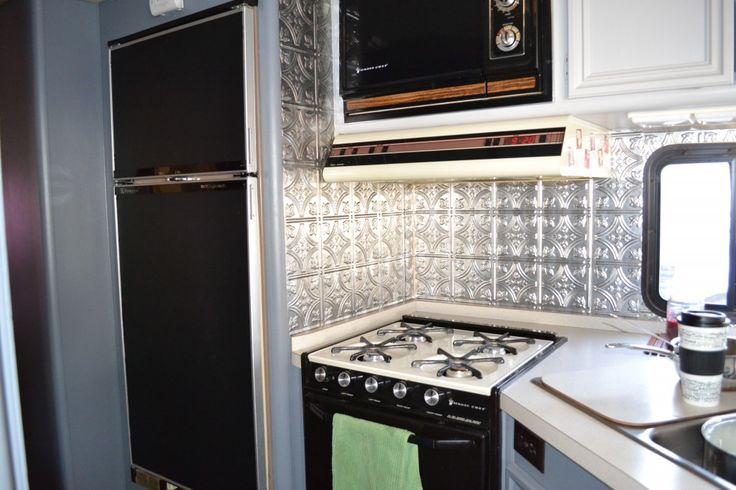 rv motorhome kitchen remodel painted fridge door with chalkboard