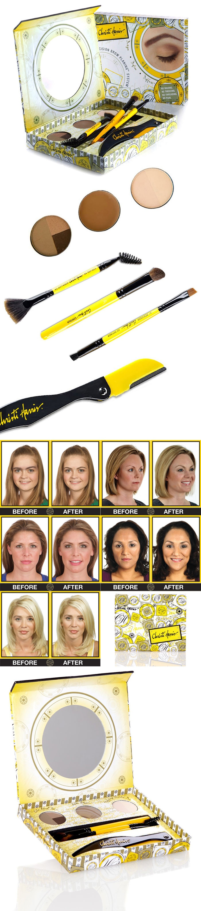 "Christi Harris Precision Brow Planing System :: $20, Retail $40 | HauteLook.com :: [7-pc set: Precision Brow Planter, Designer/Definer Dual Ended Brush (synthetic & boar bristles), Diffuser/Refiner Dual Ended Brush (synthetic & nylon bristles), Contour Brush (pony hair bristles), Color Blend Trio (0.063 oz), Adda Brow (0.049 oz), Diffusing Powder Duo (0.063 oz)] :: ""NO TWEEZING, NO WAXING, NO THREADING, NO PAIN, NO KIDDING!"" Here's how to do it: www.youtube.com/watch?v=KagMcM5g4BQ"