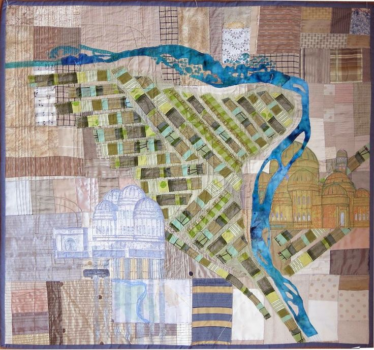 Ellen November Art quilt map of Mosul