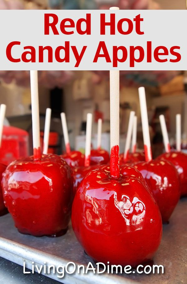 Red Hot Candy Apples :   4 apples, peeled and sliced 1/4 cup red hots (cinnamon candy) 2 Tbsp. water  Place all ingredients in a pan. Cook on low to medium heat for about 15 minutes or until tender.  When I make this recipe, I use whatever apples I have on hand but baking apples and Gala apples work best.