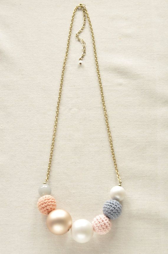 Pretty Pastel Crochet Bead Necklace Sherbet by NikitaAccessories, $9.50