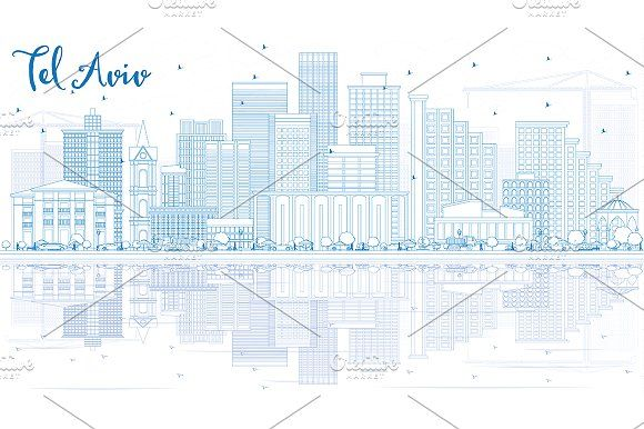 #Outline #Tel #Aviv #Skyline  by Igor Sorokin on @creativemarket